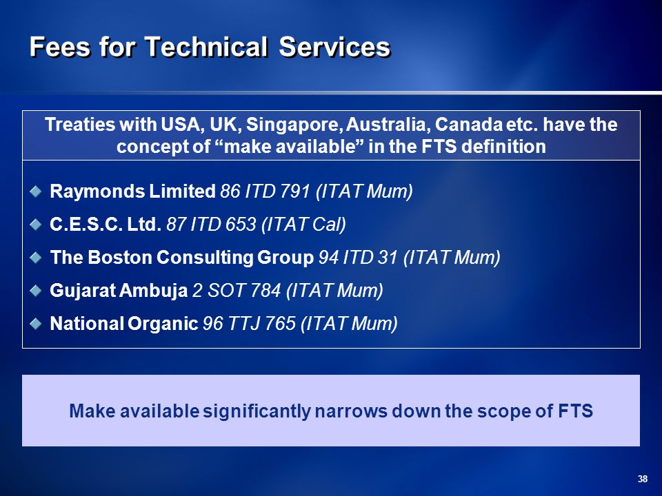 38 Fees for Technical Services Raymonds Limited 86 ITD 791 (ITAT Mum) C.E.S.C.