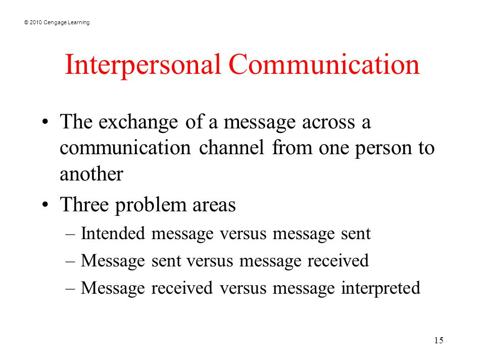 © 2010 Cengage Learning 15 Interpersonal Communication The exchange of a message across a communication channel from one person to another Three problem areas –Intended message versus message sent –Message sent versus message received –Message received versus message interpreted