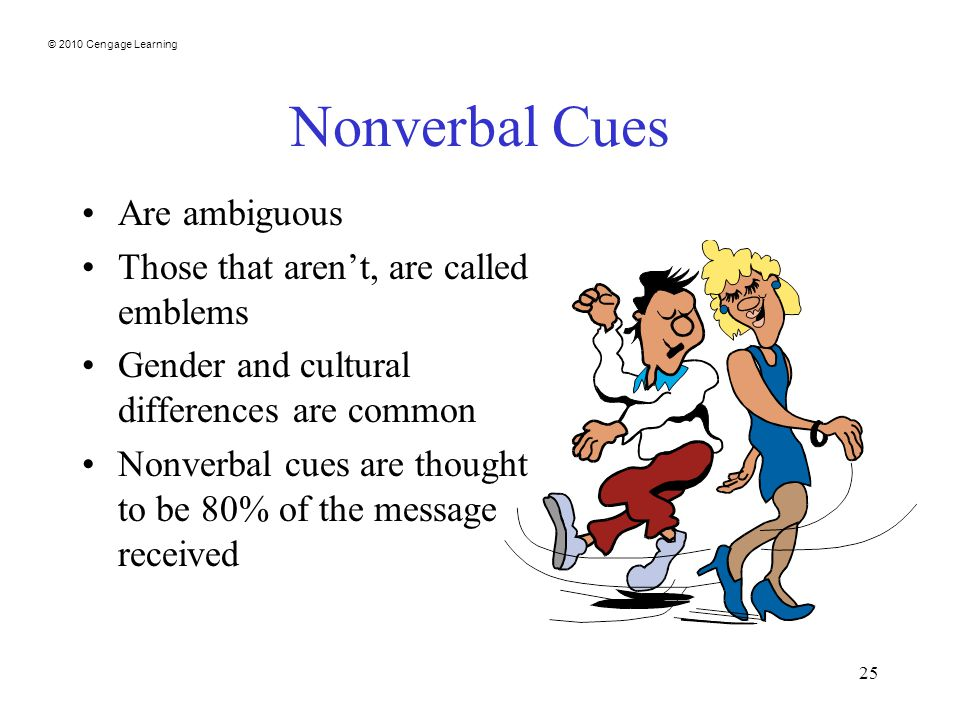 © 2010 Cengage Learning 25 Nonverbal Cues Are ambiguous Those that aren't, are called emblems Gender and cultural differences are common Nonverbal cues are thought to be 80% of the message received