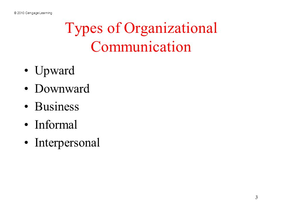 © 2010 Cengage Learning 3 Types of Organizational Communication Upward Downward Business Informal Interpersonal