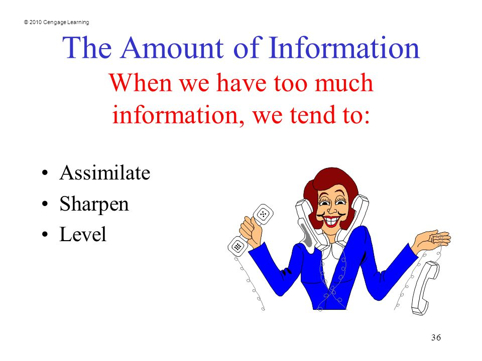 © 2010 Cengage Learning 36 The Amount of Information When we have too much information, we tend to: Assimilate Sharpen Level