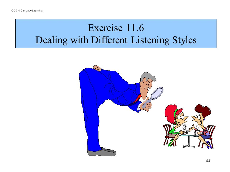 © 2010 Cengage Learning 44 Exercise 11.6 Dealing with Different Listening Styles