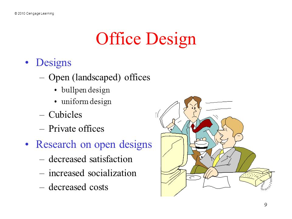 © 2010 Cengage Learning 9 Office Design Designs –Open (landscaped) offices bullpen design uniform design –Cubicles –Private offices Research on open d
