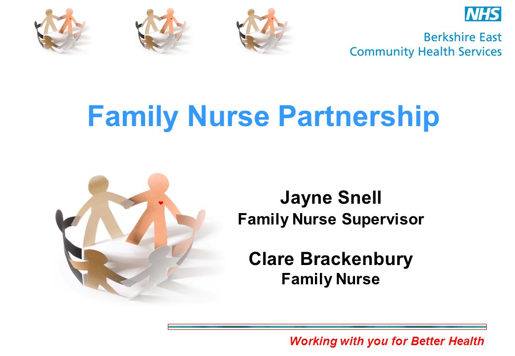 Working with you for Better Health Family Nurse Partnership Jayne Snell Family Nurse Supervisor Clare Brackenbury Family Nurse