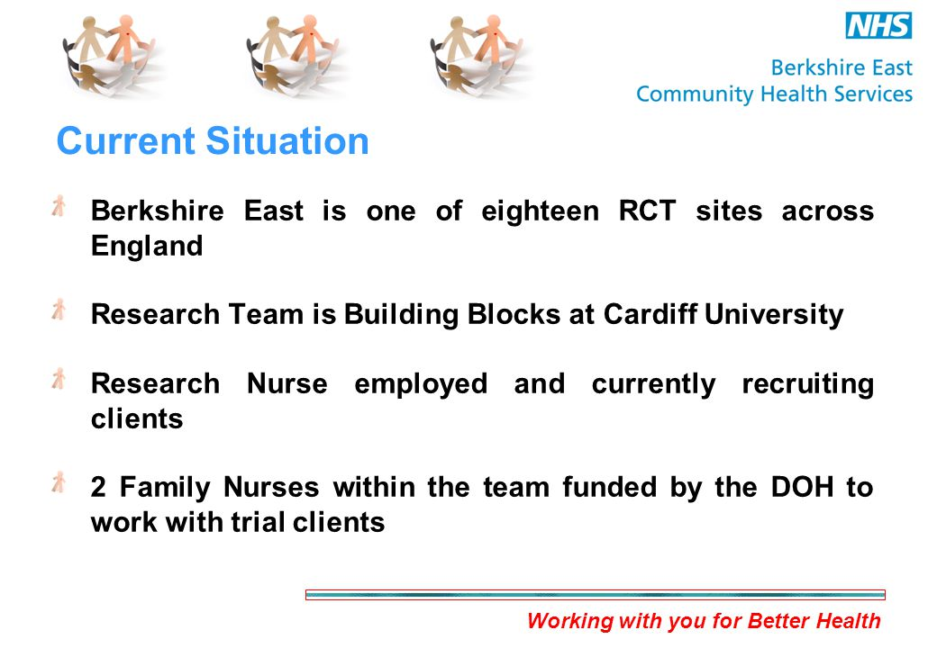 Working with you for Better Health Current Situation Berkshire East is one of eighteen RCT sites across England Research Team is Building Blocks at Cardiff University Research Nurse employed and currently recruiting clients 2 Family Nurses within the team funded by the DOH to work with trial clients