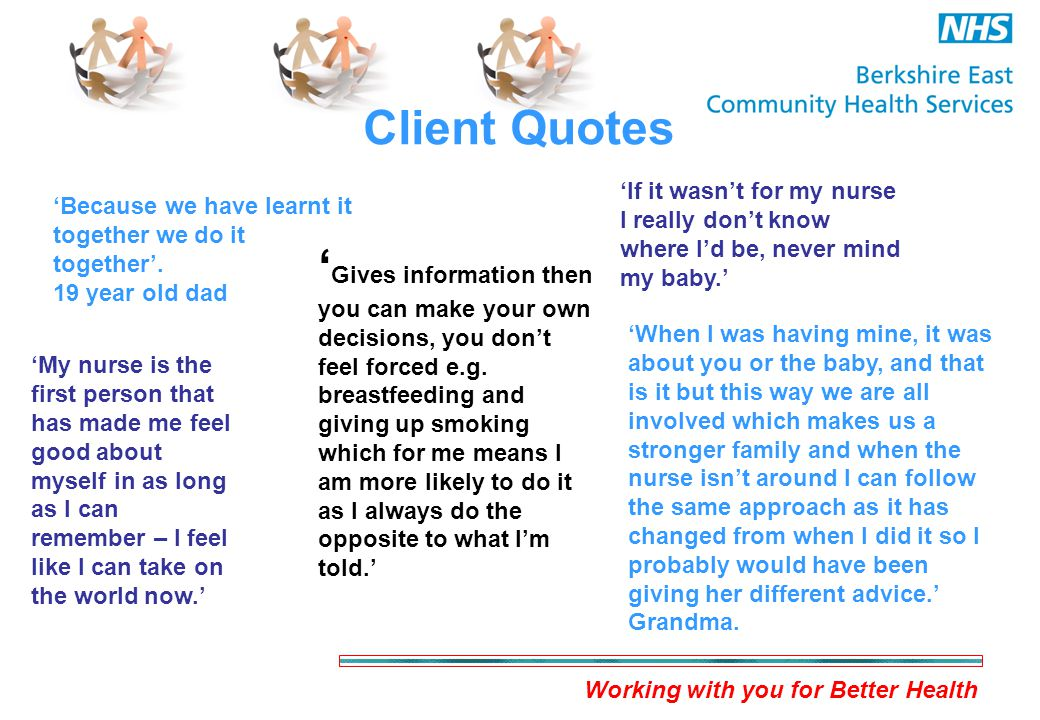 Working with you for Better Health Client Quotes 'Because we have learnt it together we do it together'.