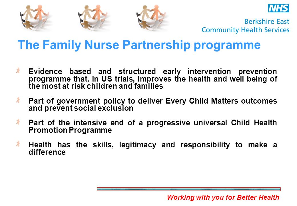 Working with you for Better Health The Family Nurse Partnership programme Evidence based and structured early intervention prevention programme that, in US trials, improves the health and well being of the most at risk children and families Part of government policy to deliver Every Child Matters outcomes and prevent social exclusion Part of the intensive end of a progressive universal Child Health Promotion Programme Health has the skills, legitimacy and responsibility to make a difference