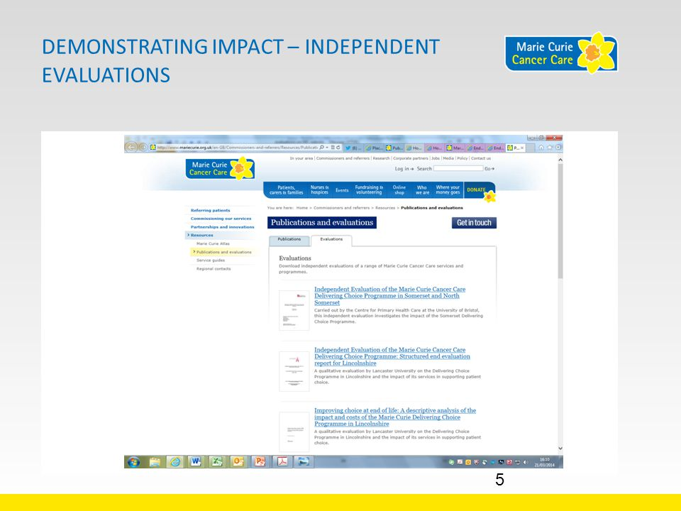DEMONSTRATING IMPACT – INDEPENDENT EVALUATIONS 5