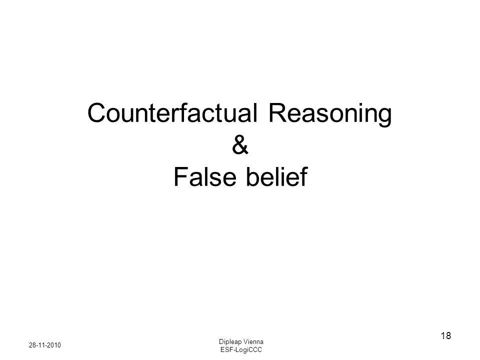 28-11-2010 Dipleap Vienna ESF-LogiCCC 18 Counterfactual Reasoning & False belief