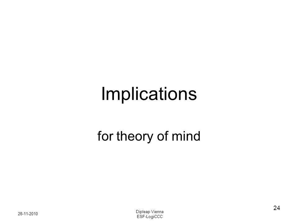 28-11-2010 Dipleap Vienna ESF-LogiCCC 24 Implications for theory of mind