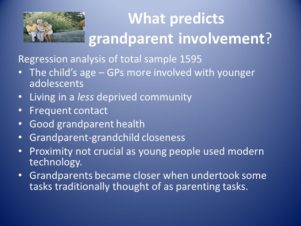What predicts grandparent involvement.