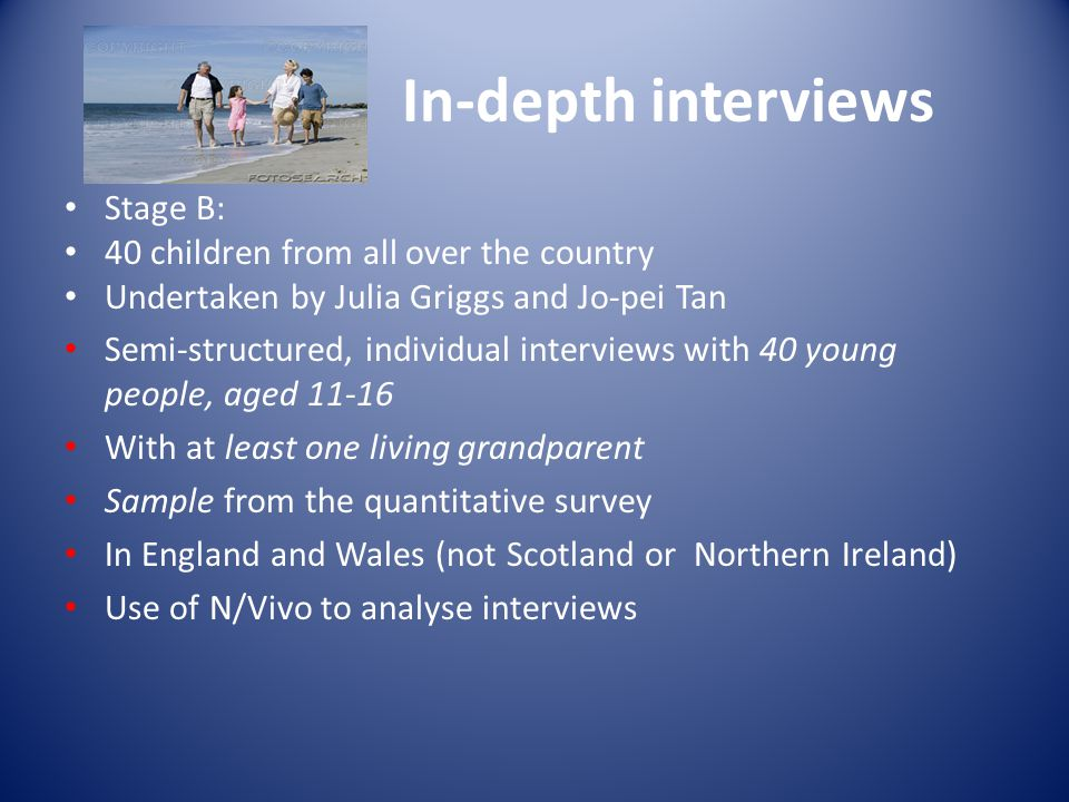 In-depth interviews Stage B: 40 children from all over the country Undertaken by Julia Griggs and Jo-pei Tan Semi-structured, individual interviews with 40 young people, aged 11-16 With at least one living grandparent Sample from the quantitative survey In England and Wales (not Scotland or Northern Ireland) Use of N/Vivo to analyse interviews