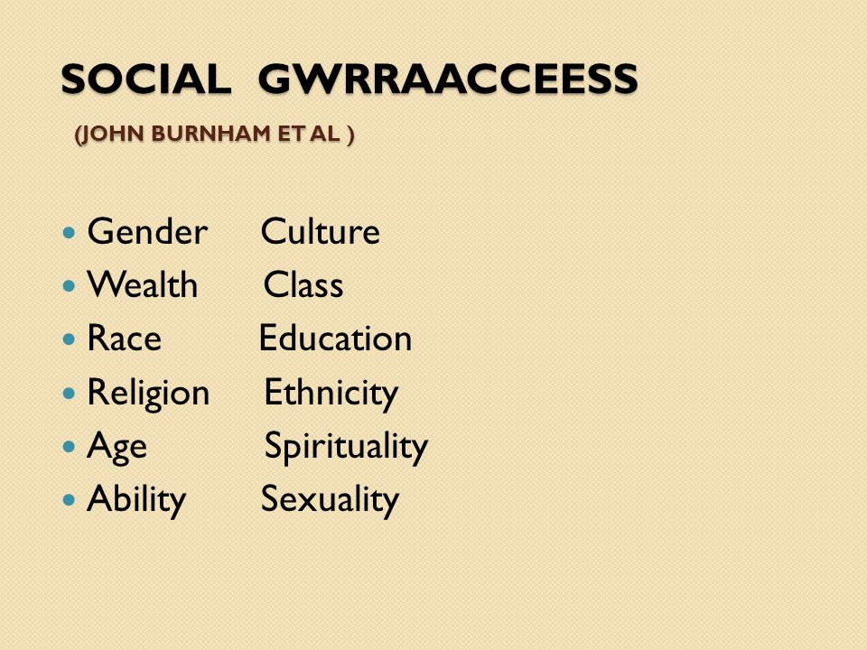 SOCIAL GWRRAACCEESS (JOHN BURNHAM ET AL ) Gender Culture Wealth Class Race Education Religion Ethnicity Age Spirituality Ability Sexuality