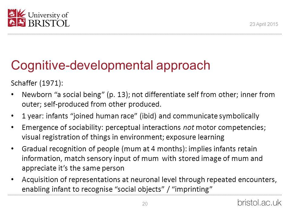 Cognitive-developmental approach Schaffer (1971): Newborn a social being (p.
