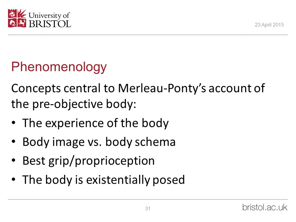 Phenomenology Concepts central to Merleau-Ponty's account of the pre-objective body: The experience of the body Body image vs.