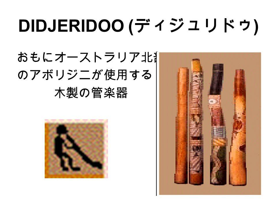 DIDJERIDOO ( ディジュリドゥ ) おもにオーストラリア北部 のアボリジニが使用する 木製の管楽器