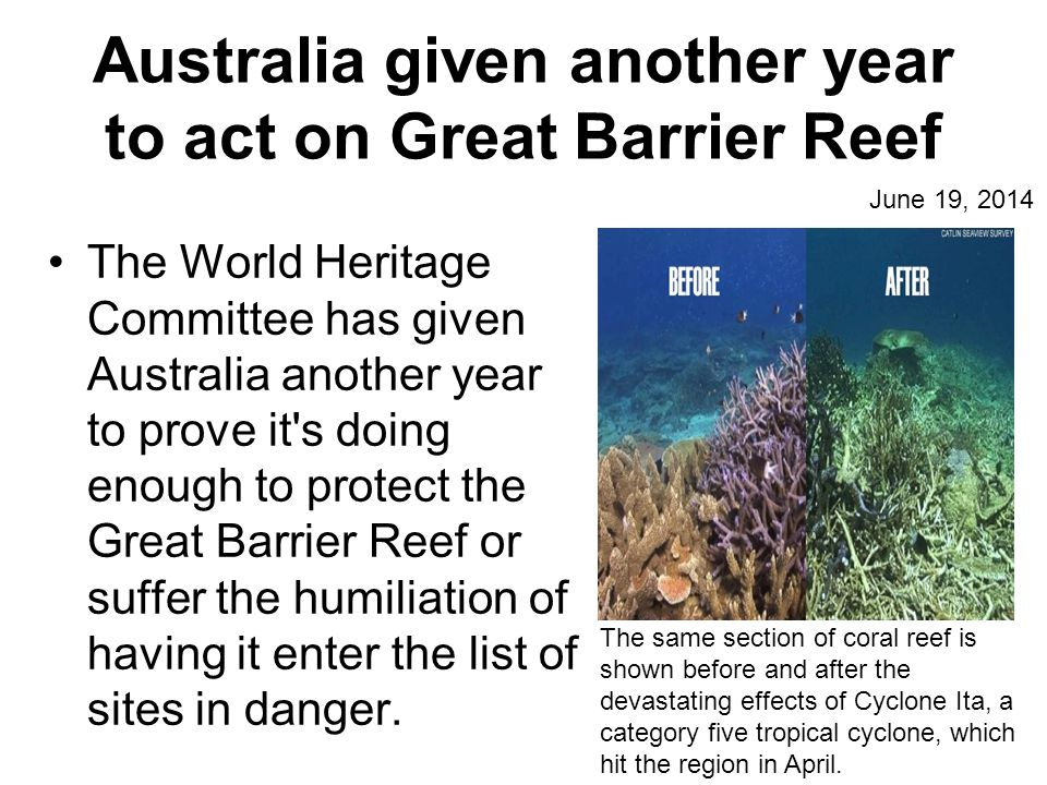 Australia given another year to act on Great Barrier Reef The World Heritage Committee has given Australia another year to prove it s doing enough to protect the Great Barrier Reef or suffer the humiliation of having it enter the list of sites in danger.