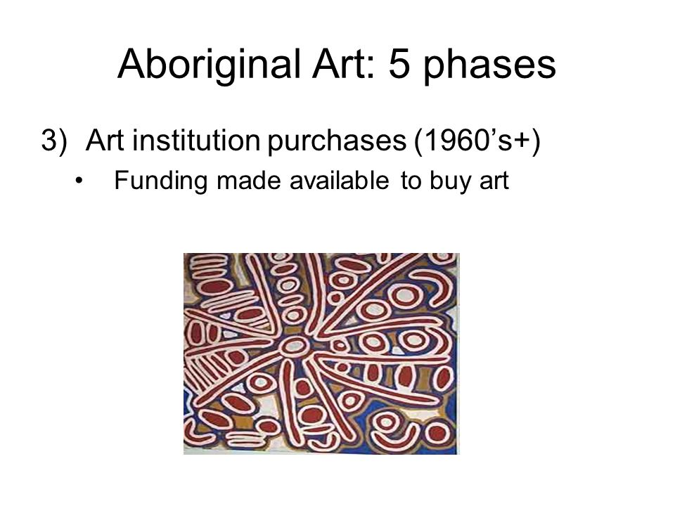 Aboriginal Art: 5 phases 3)Art institution purchases (1960's+) Funding made available to buy art