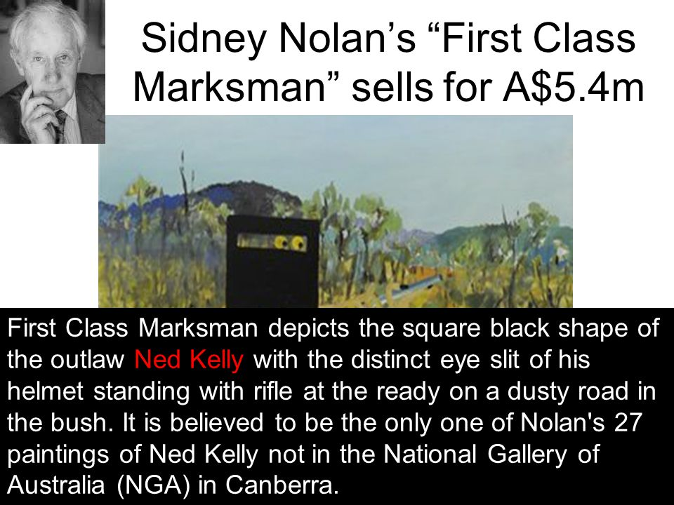"Sidney Nolan's ""First Class Marksman"" sells for A$5.4m March 2010 Art Gallery of New South Wales in Sydney, Australia. First Class Marksman depicts th"
