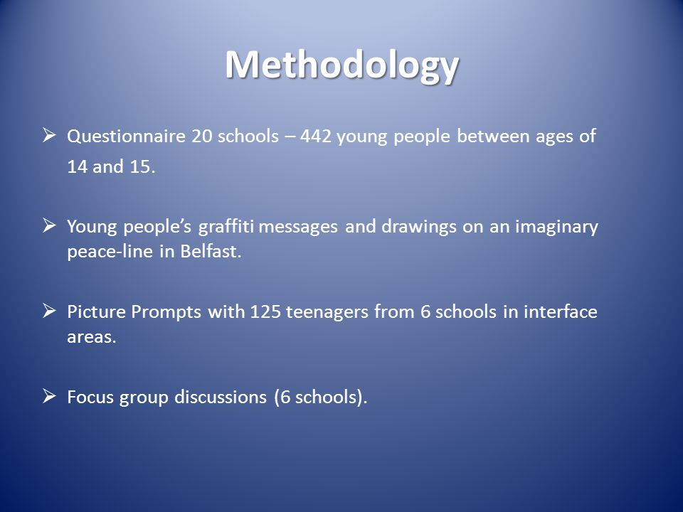 Methodology  Questionnaire 20 schools – 442 young people between ages of 14 and 15.  Young people's graffiti messages and drawings on an imaginary p
