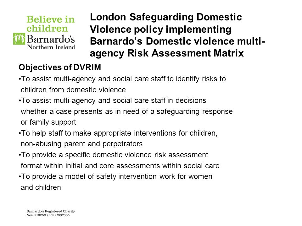 London Safeguarding Domestic Violence policy implementing Barnardo's Domestic violence multi- agency Risk Assessment Matrix Objectives of DVRIM To ass