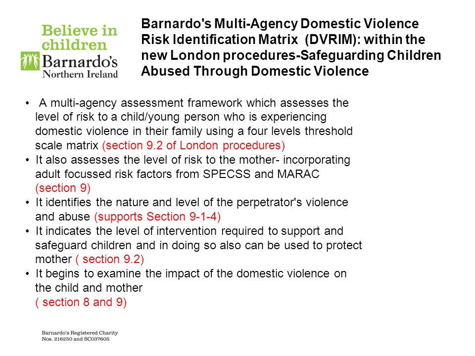 Barnardo's Multi-Agency Domestic Violence Risk Identification Matrix (DVRIM): within the new London procedures-Safeguarding Children Abused Through Do