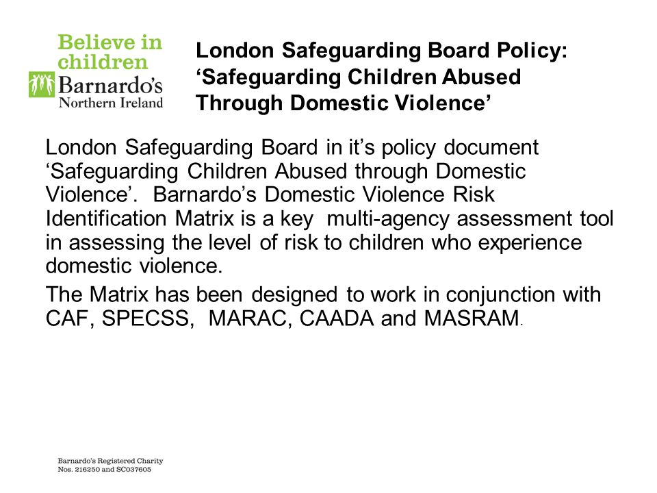 London Safeguarding Board Policy: 'Safeguarding Children Abused Through Domestic Violence' London Safeguarding Board in it's policy document 'Safeguar