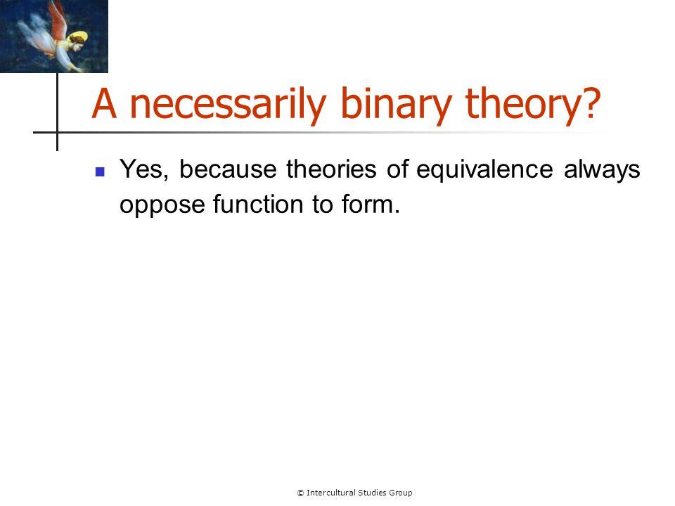 © Intercultural Studies Group A non-binary theory.