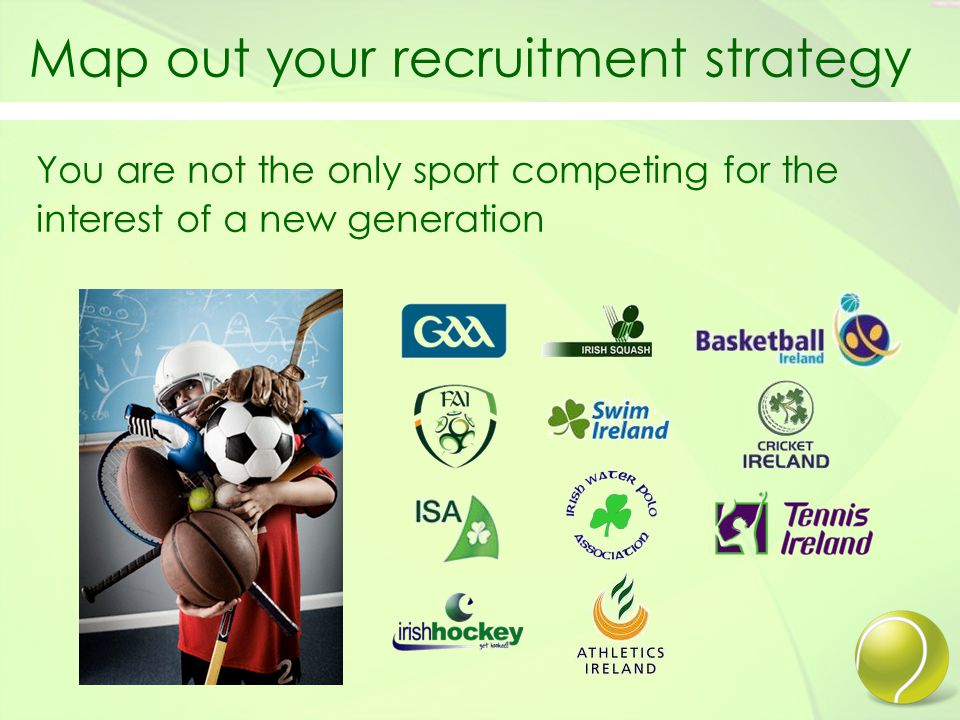 Map out your recruitment strategy You are not the only sport competing for the interest of a new generation