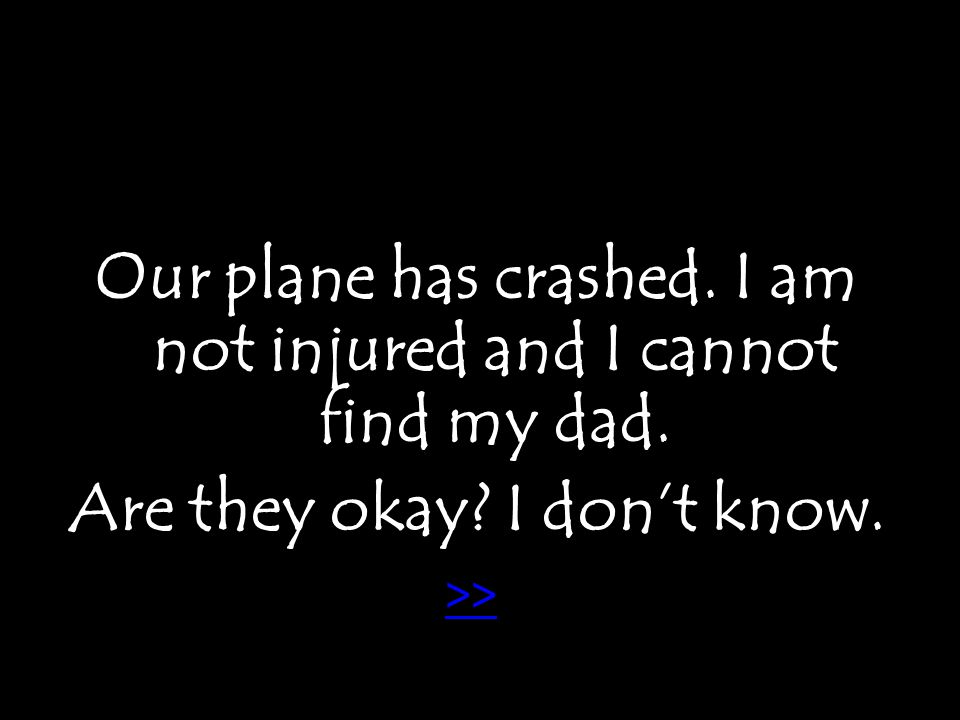 Our plane has crashed. I am not injured and I cannot find my dad. Are they okay I don't know. >>