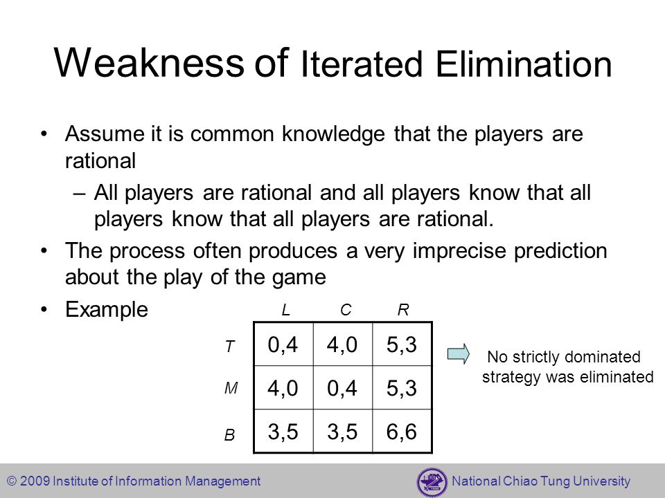 © 2009 Institute of Information Management National Chiao Tung University Weakness of Iterated Elimination Assume it is common knowledge that the play