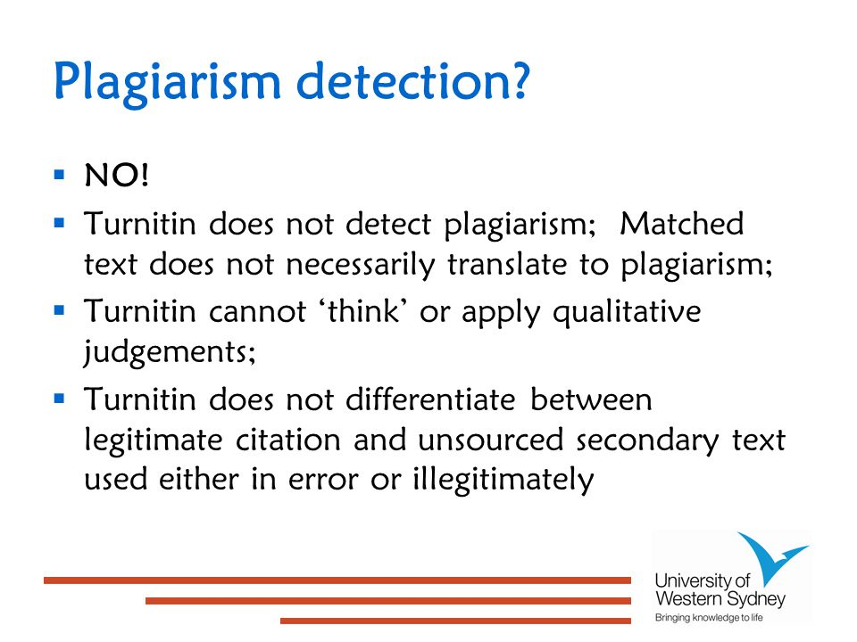 Plagiarism detection.  NO.