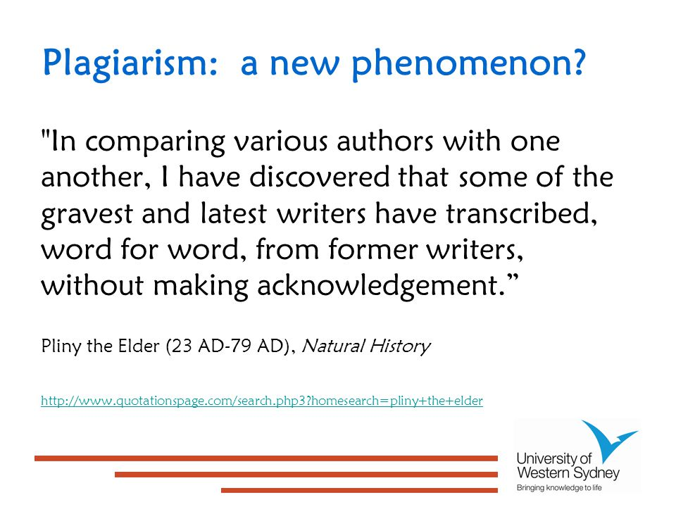 Plagiarism: a new phenomenon.