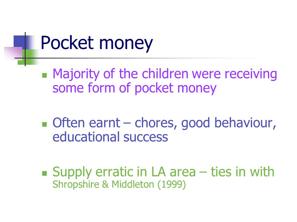 Pocket money Majority of the children were receiving some form of pocket money Often earnt – chores, good behaviour, educational success Supply erratic in LA area – ties in with Shropshire & Middleton (1999)