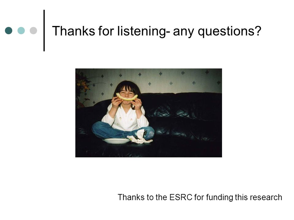 Thanks for listening- any questions? Thanks to the ESRC for funding this research