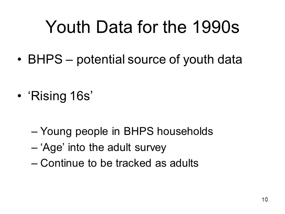 10 Youth Data for the 1990s BHPS – potential source of youth data 'Rising 16s' –Young people in BHPS households –'Age' into the adult survey –Continue to be tracked as adults