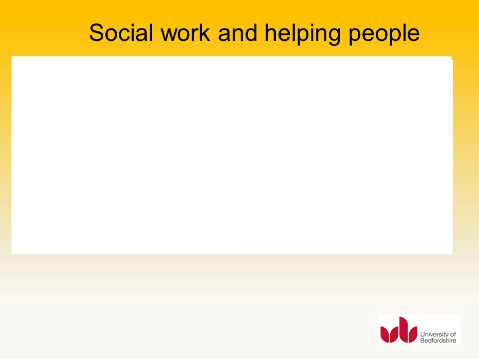 Social work and helping people