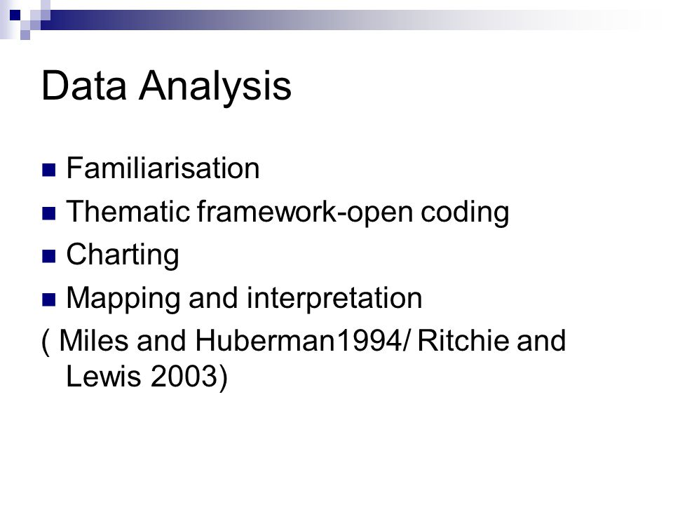 Data Analysis Familiarisation Thematic framework-open coding Charting Mapping and interpretation ( Miles and Huberman1994/ Ritchie and Lewis 2003)