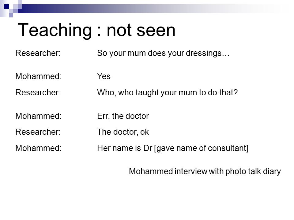 Teaching : not seen Researcher:So your mum does your dressings… Mohammed:Yes Researcher:Who, who taught your mum to do that.