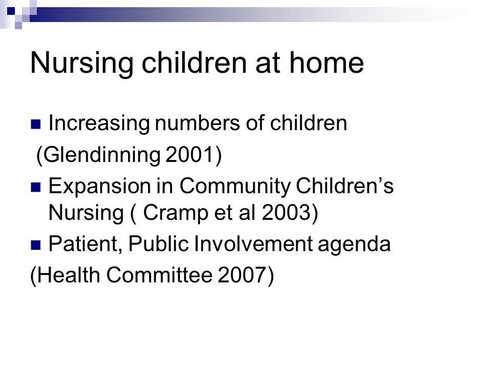 Nursing children at home Increasing numbers of children (Glendinning 2001) Expansion in Community Children's Nursing ( Cramp et al 2003) Patient, Publ