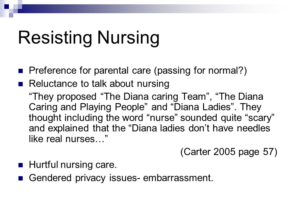 Resisting Nursing Preference for parental care (passing for normal ) Reluctance to talk about nursing They proposed The Diana caring Team , The Diana Caring and Playing People and Diana Ladies .