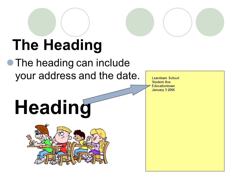The Heading The heading can include your address and the date. Learnham School Student Ave Educationtown January 5 2006 Heading