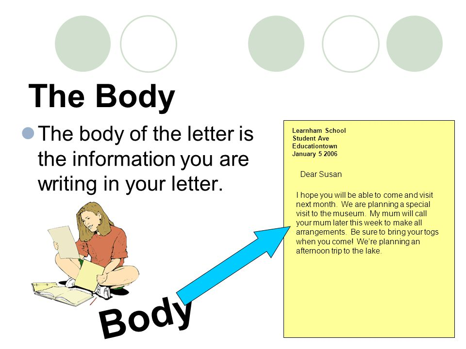 The Body The body of the letter is the information you are writing in your letter.