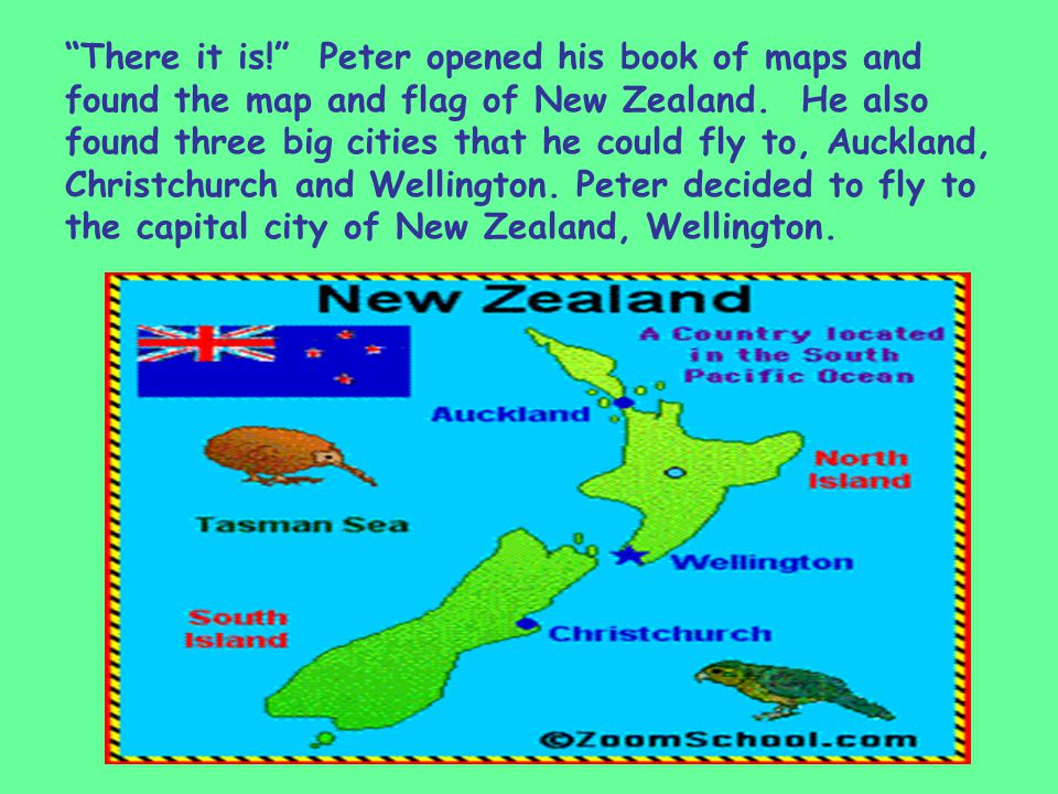 There it is! Peter opened his book of maps and found the map and flag of New Zealand.
