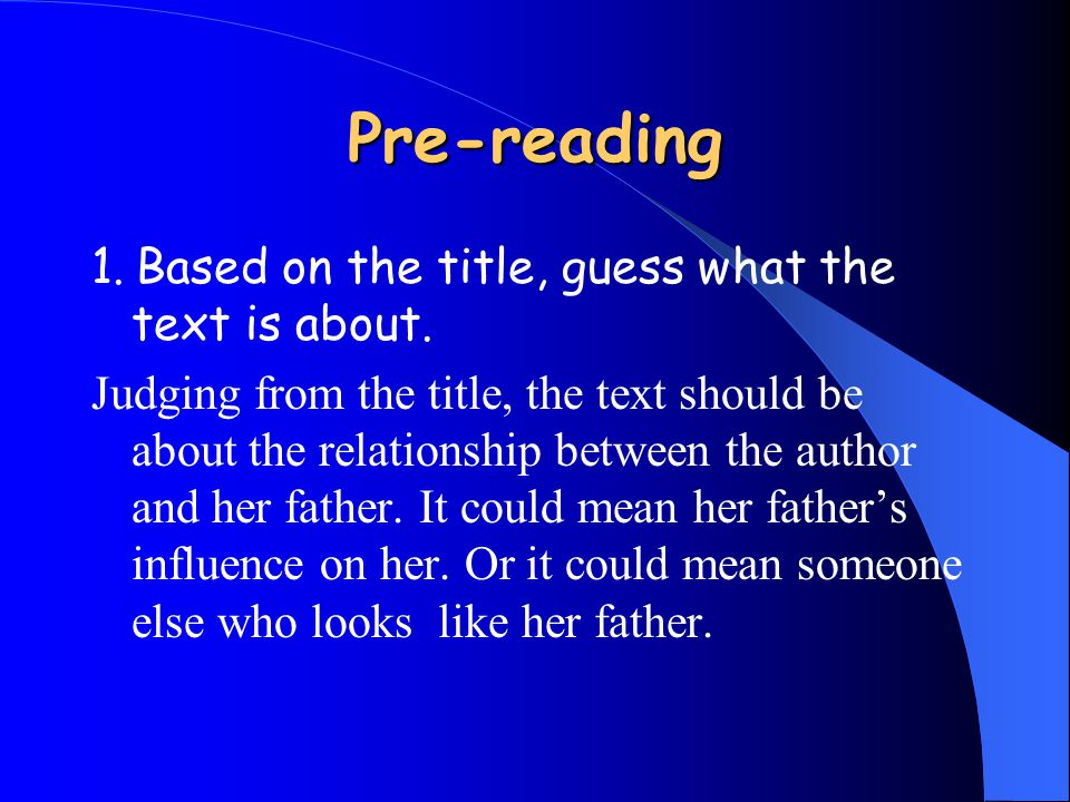 Main Idea of the passage The text tells of how the author failed to meet the demands that her father had on her in her childhood and adolescent time and how the author's newborn baby finally bridges the gap between her father and herself.