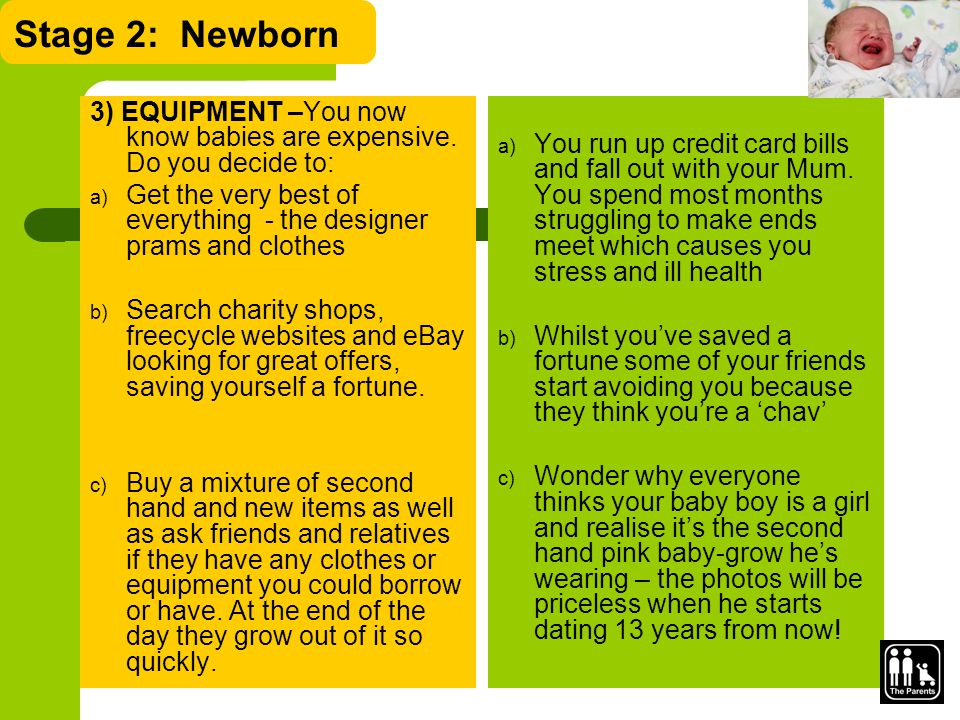 Stage 2: Newborn 3) EQUIPMENT –You now know babies are expensive.