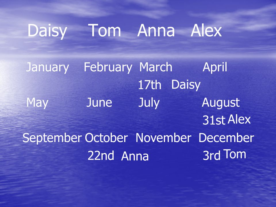 Daisy Tom Anna Alex January February March April 17th May June July August 31st September October November December 22nd 3rd Daisy Alex Anna Tom