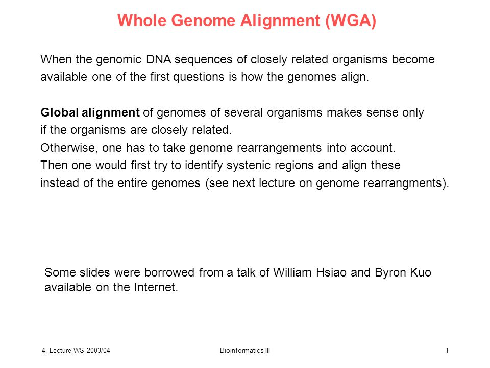 4.Lecture WS 2003/04Bioinformatics III2 Why align whole genome sequence.