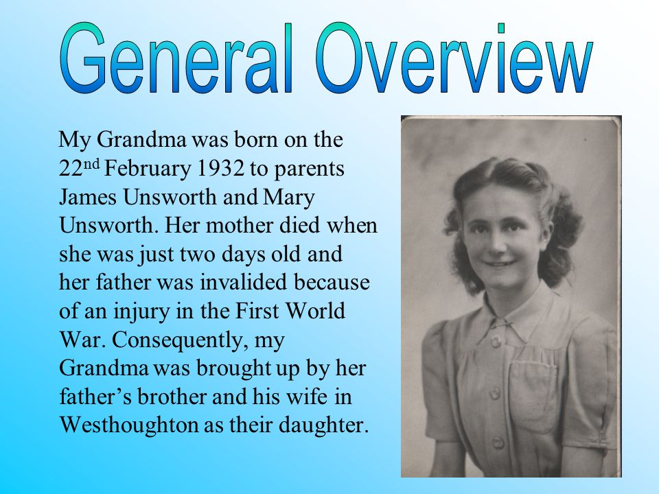 Because her father was an invalid, the family decided that my Grandma should be brought up by her father's brother and his wife; Ellen and Arthur Unsworth.