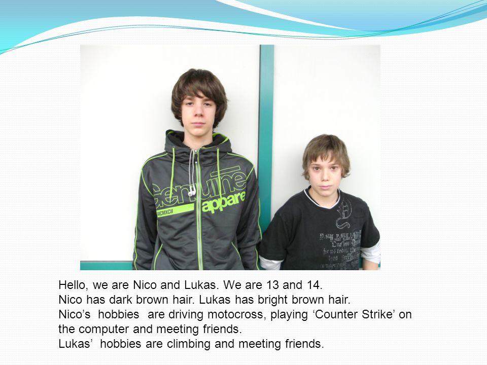 Hello.We are John and Sebastian. We have brown hair.